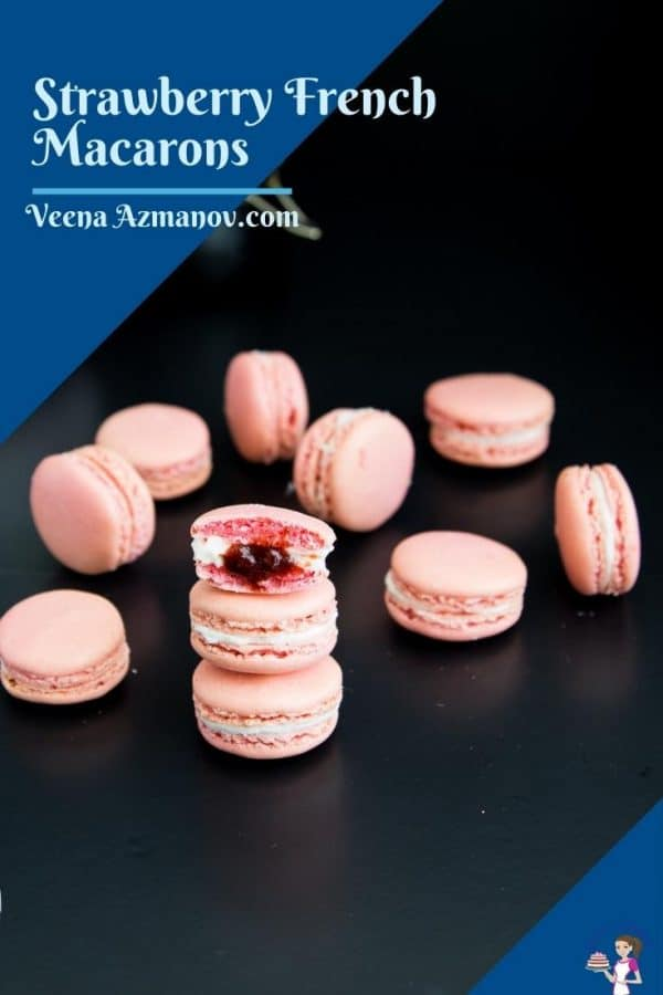 Pinterest image for strawberry macarons