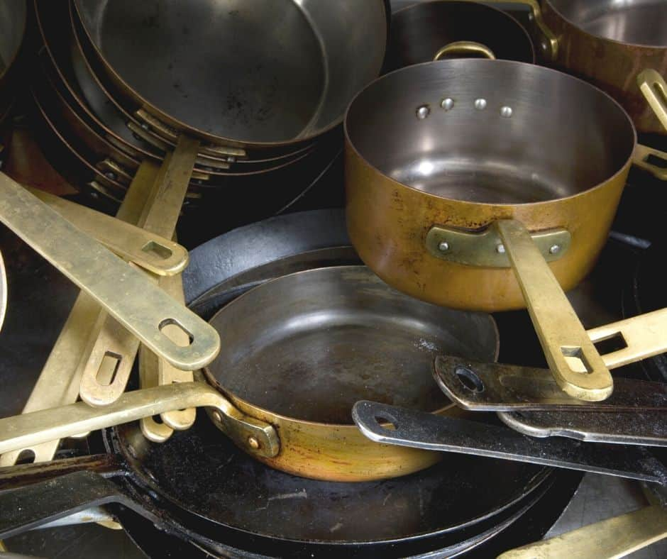 A pile of pots and pans.
