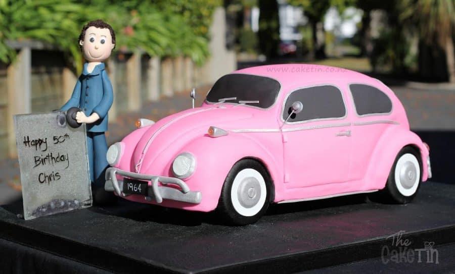 A car shaped cake.