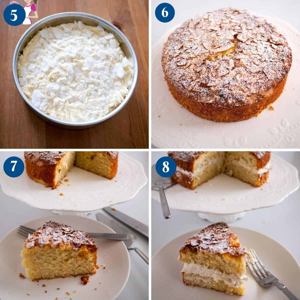 Progress pictures collage for coconut cake.
