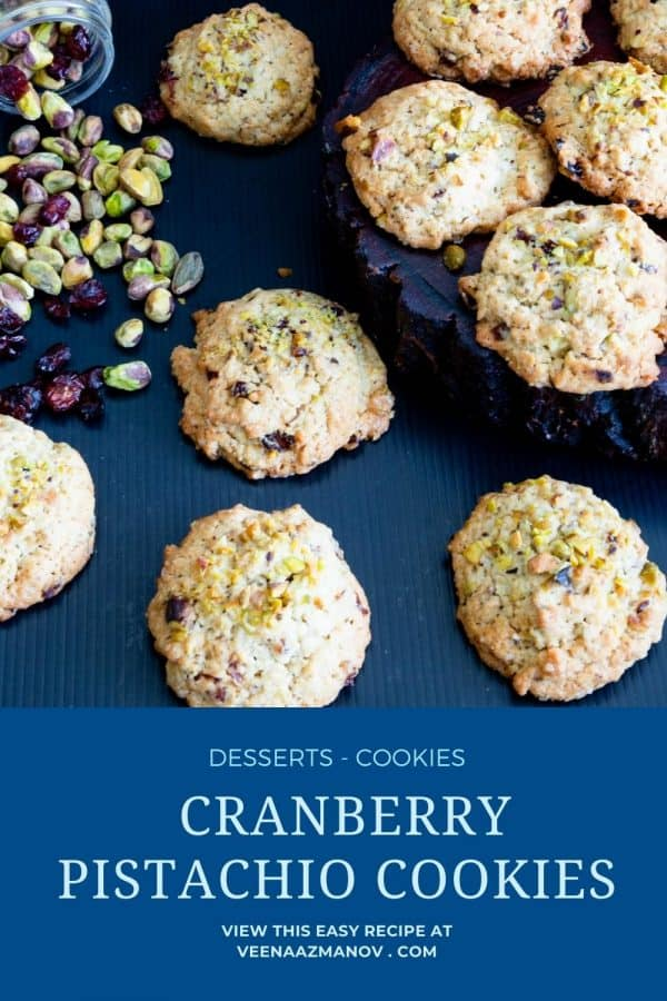 Pinterest image for cookies with pistachios and cranberries