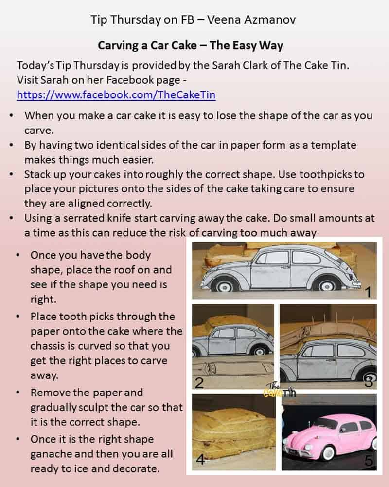 A post on how to make a car shaped cake.