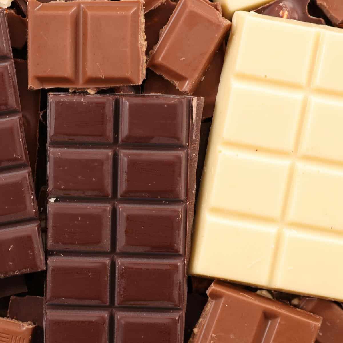 Chocolate bars - white milk and dark