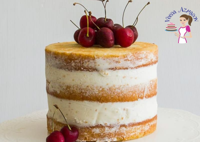 Garnish the naked cake with some fresh cherries - Vanilla Cake Progress Pictures