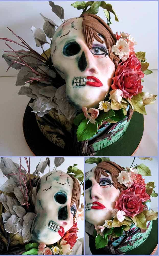A Day and Night Skull Cake made for the Sugar Skull Collaboration in 2014