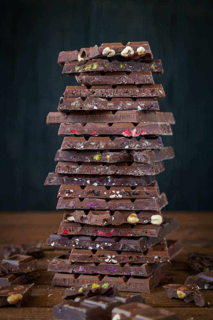 A stack of chocolate (image courtesy canva) for Tips on how to melt and work with chocolate.
