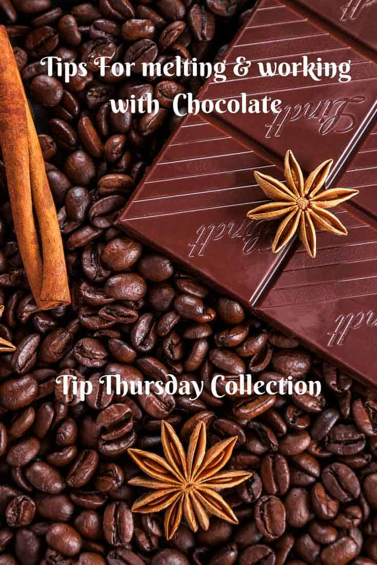 A Pinterest optimized image on Tips for melting and working with chocolate with tips and trouble shooting.