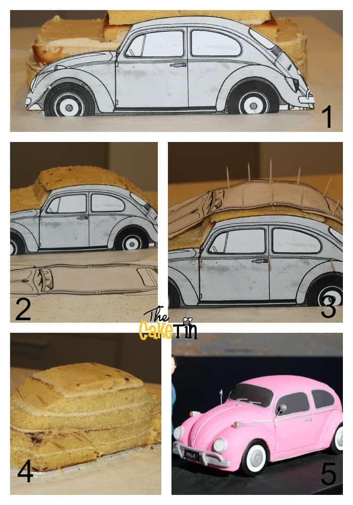 Progress photos of making a car shaped cake.