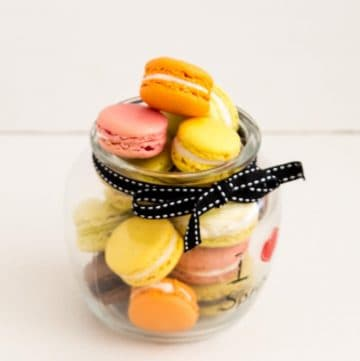 French macrons in a mason jar