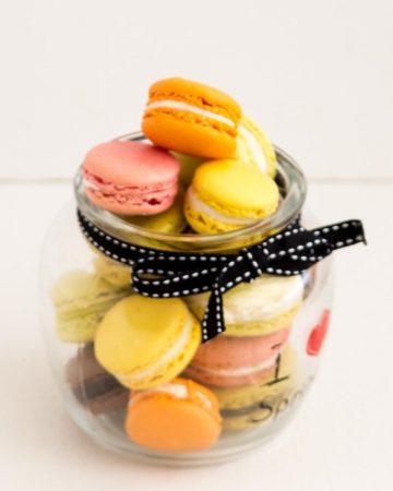 French macrons in a mason jar