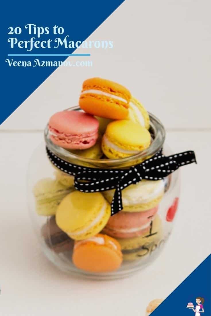 Have fun and no stress when you bake the next batch of macarons with these 20 tips to perfect French macarons. Use my step-by-step tutorial and follow these simple and easy tips. In addition, use my no-fail macaron recipe and be on your way to making successful macarons every single time #macarons #French #recipe #tips #nofail #frenchmacarons #frenchmacaron #macarontips #nofailmacarons #macarontutorial #macarontutorial via @Veenaazmanov