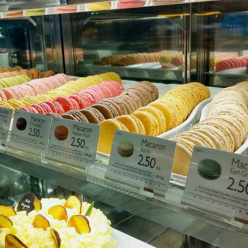 A display of cookies in a patisserie.