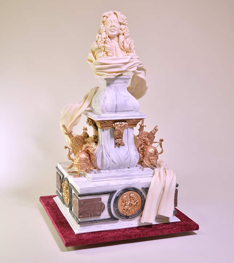 A baroque style wedding cake.