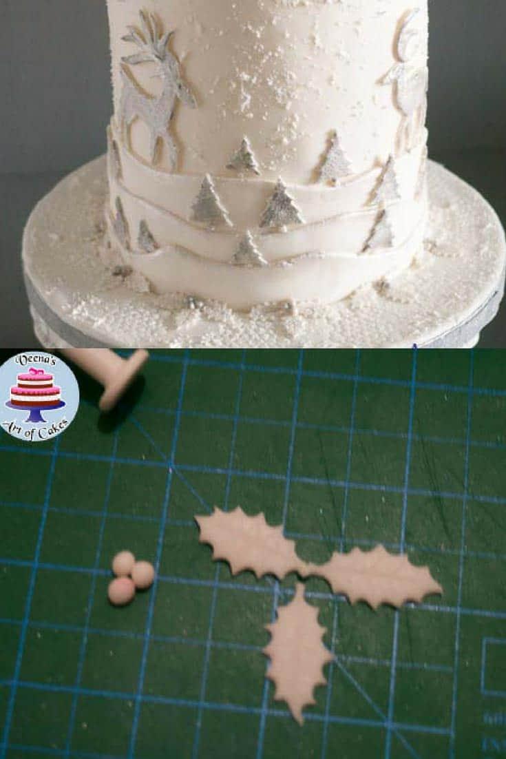 Progress photos of making a Christmas theme wedding cake.