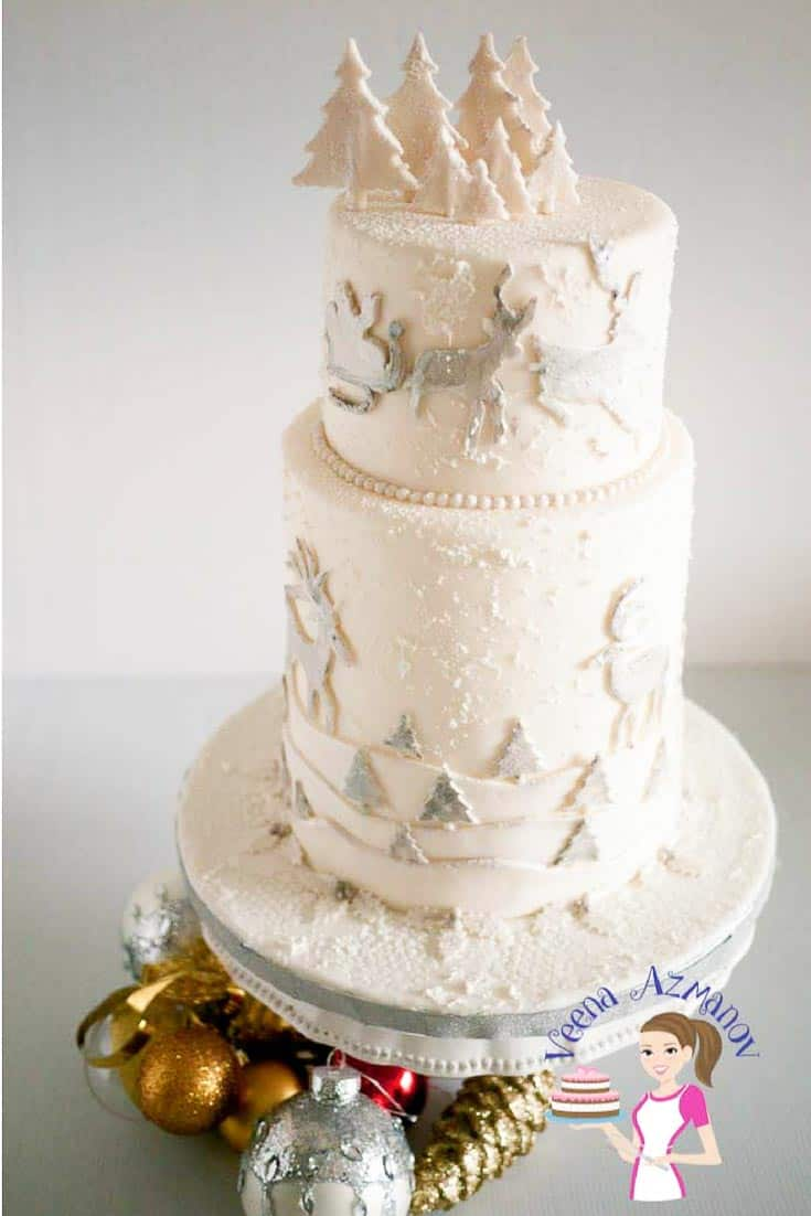 A Christmas theme wedding cake.