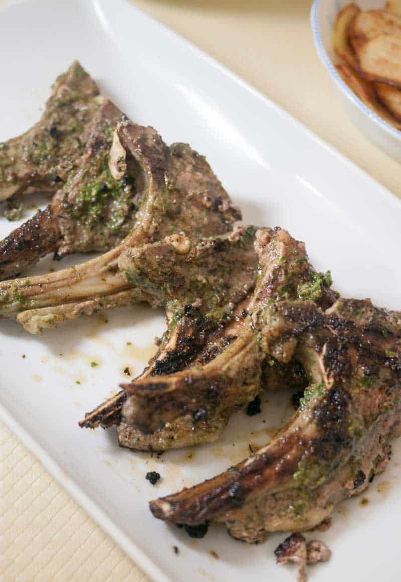 Ginger Spiced Lamb Chops with Cilantro Mint Sauce - Veena ...