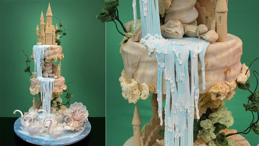 A cake decorated to look like a waterfall.