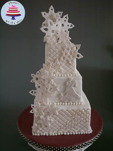 A Snowflake inspired wedding cake.