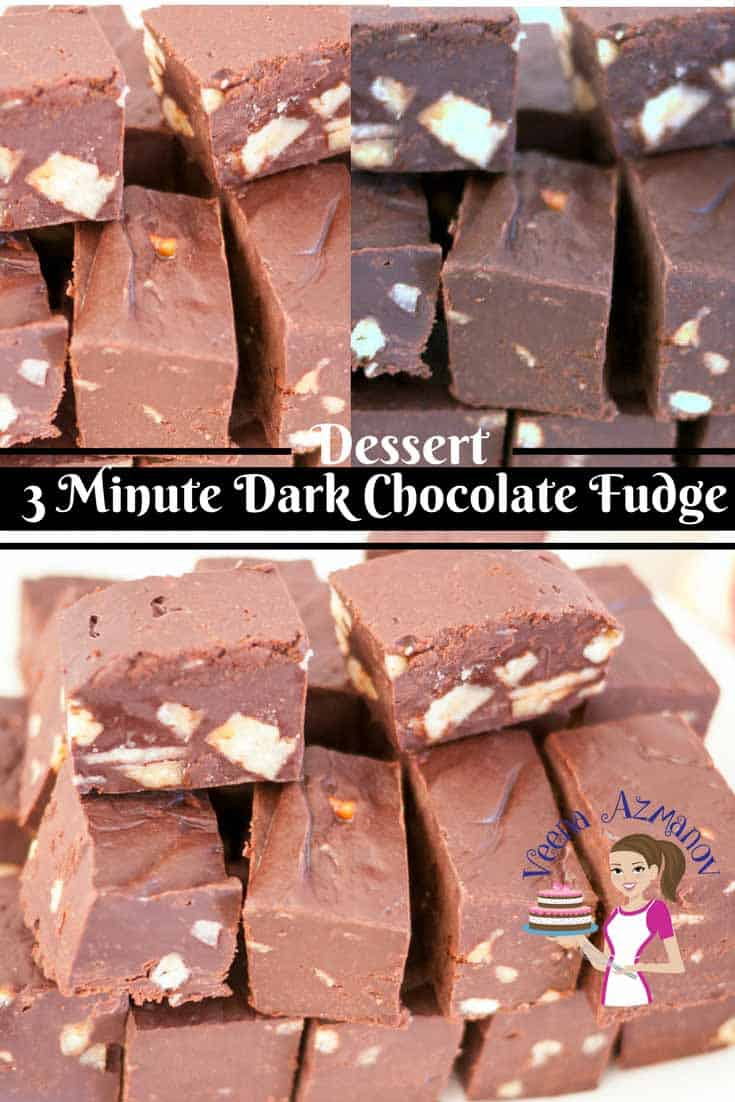This 3 minute dark chocolate fudge recipe is a great treat to have any time of the day. A batch of these and they will be gone before you know it. They are so addictive!!