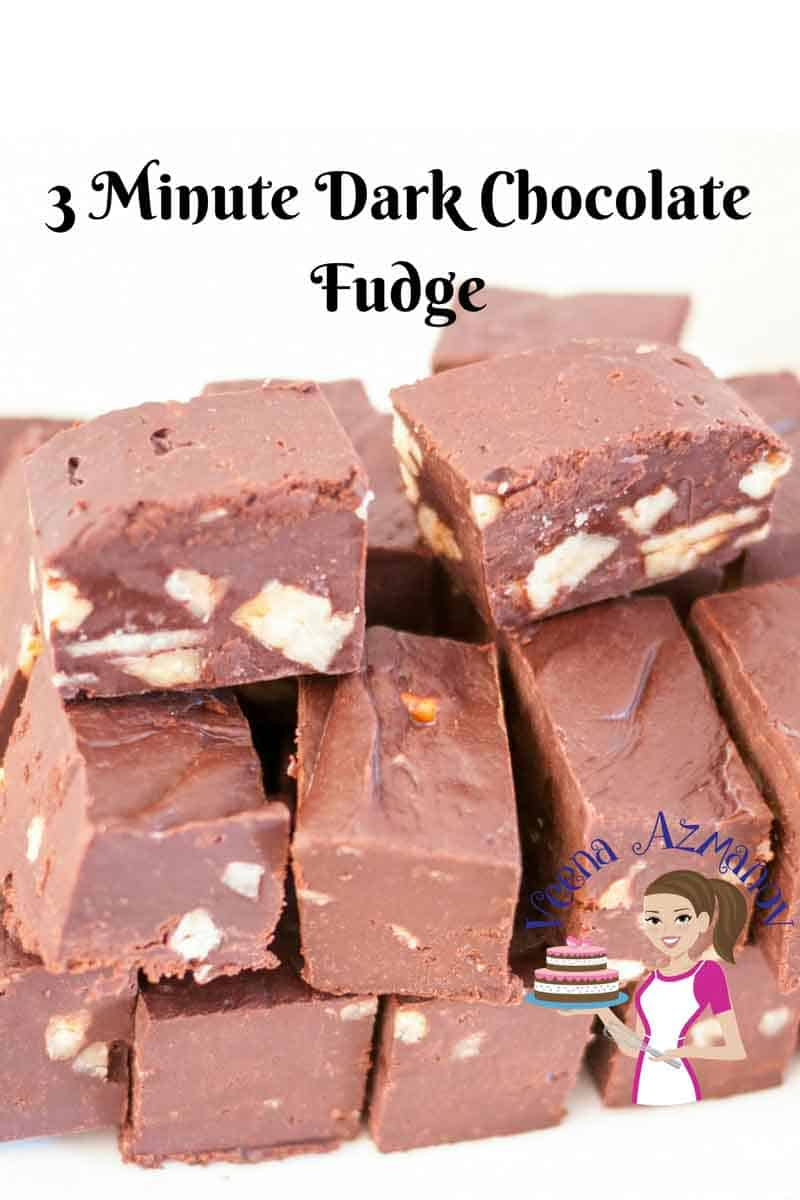 This 3 minute dark chocolate fudge is a great treat to have any time of the day. A batch of these and they will be gone before you know it.