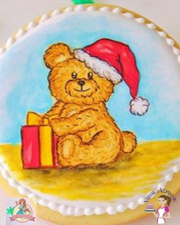 This simple, easy and effortless edible hand painted bear tutorial can be recreated on cookies, cupcake toppers or hand painted directly onto a cake. Perfect for baby shower cakes & kids cakes and of course edible Christmas collections.