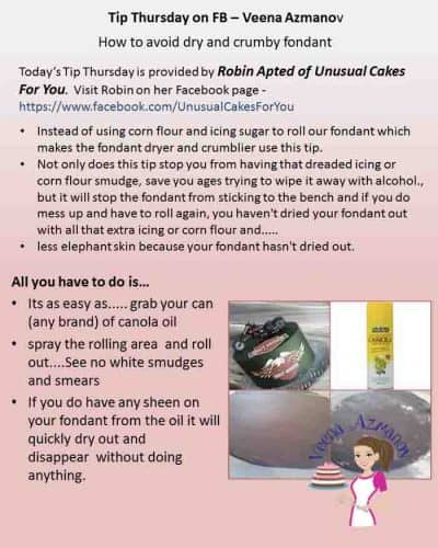 Dry and crumbly fondant can be a huge problem faced by cake decorators on a daily basis. This is a great tip by Robin Apted for our Tip Thursday today on how to avoid it.