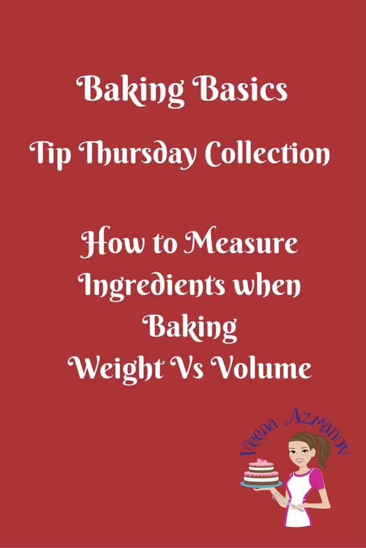 How to measure ingredients when baking? Measuring baking ingredients in a crucial part of the baking process. In some recipes more critical than the others. Which is more accurate, weight or volume? Why? read more in this article.