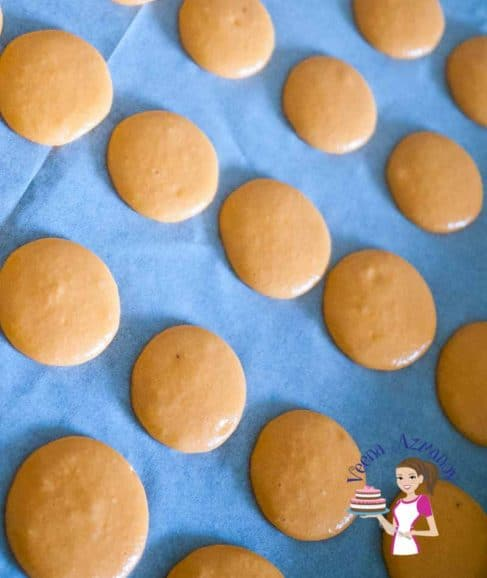 Piped macarons on a baking tray