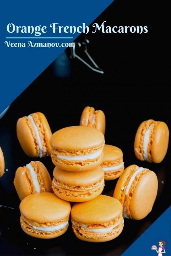 A Pinterest image for orange macarons