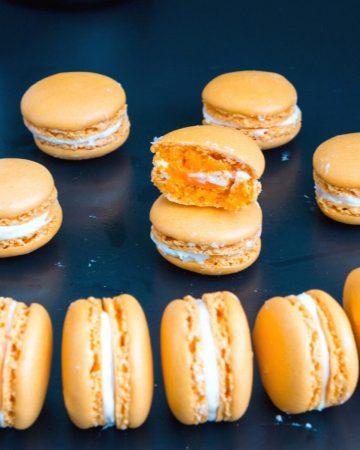 Macarons on a black table