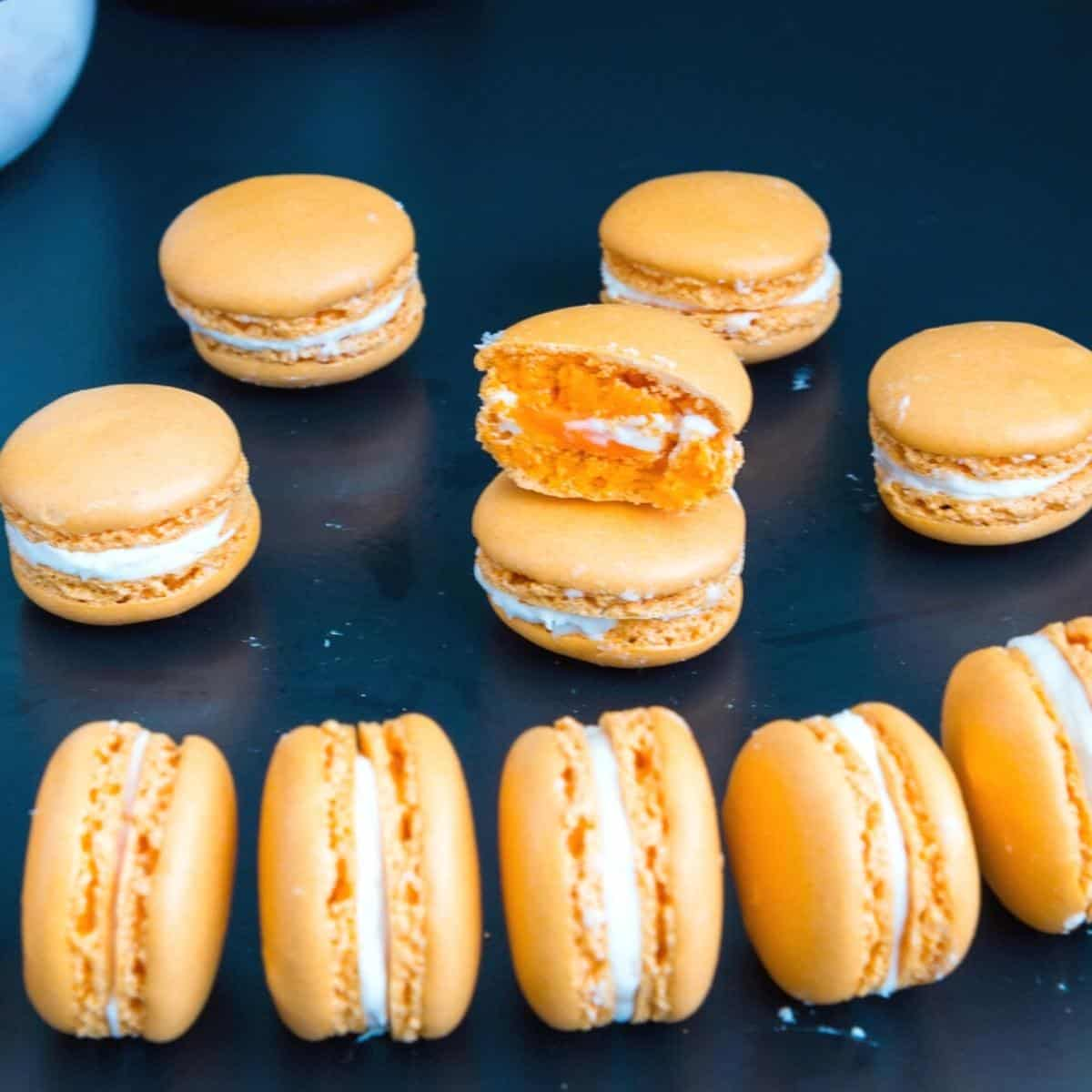 Macarons on a black table