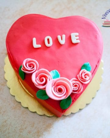 A cake decorated to look like a heart.