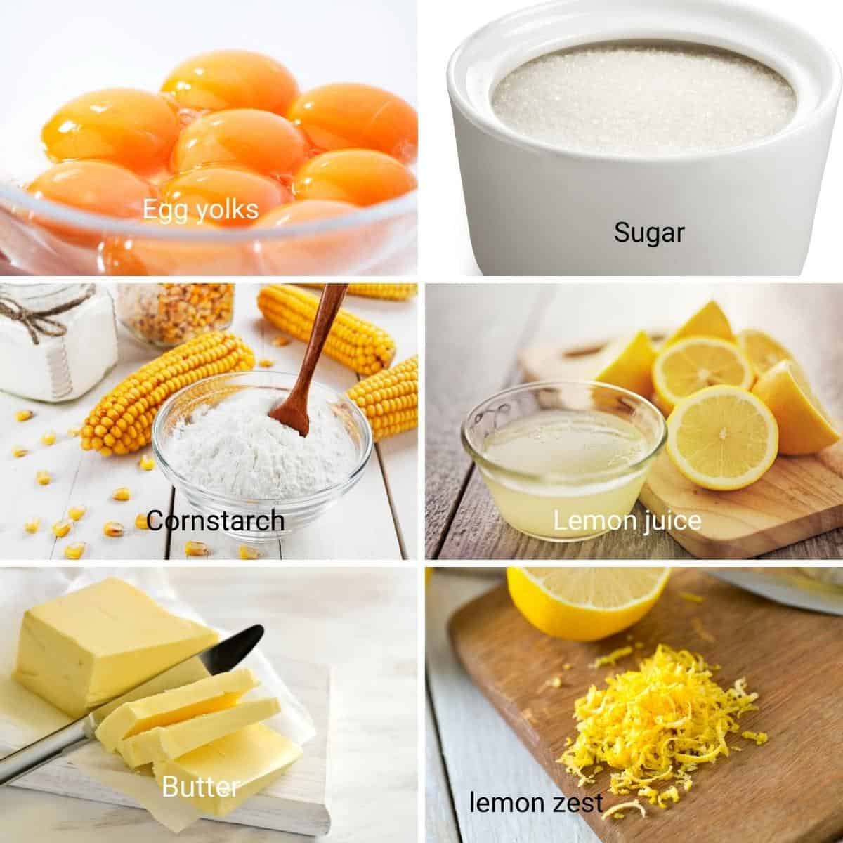Ingredients for making homemade lemon curd.