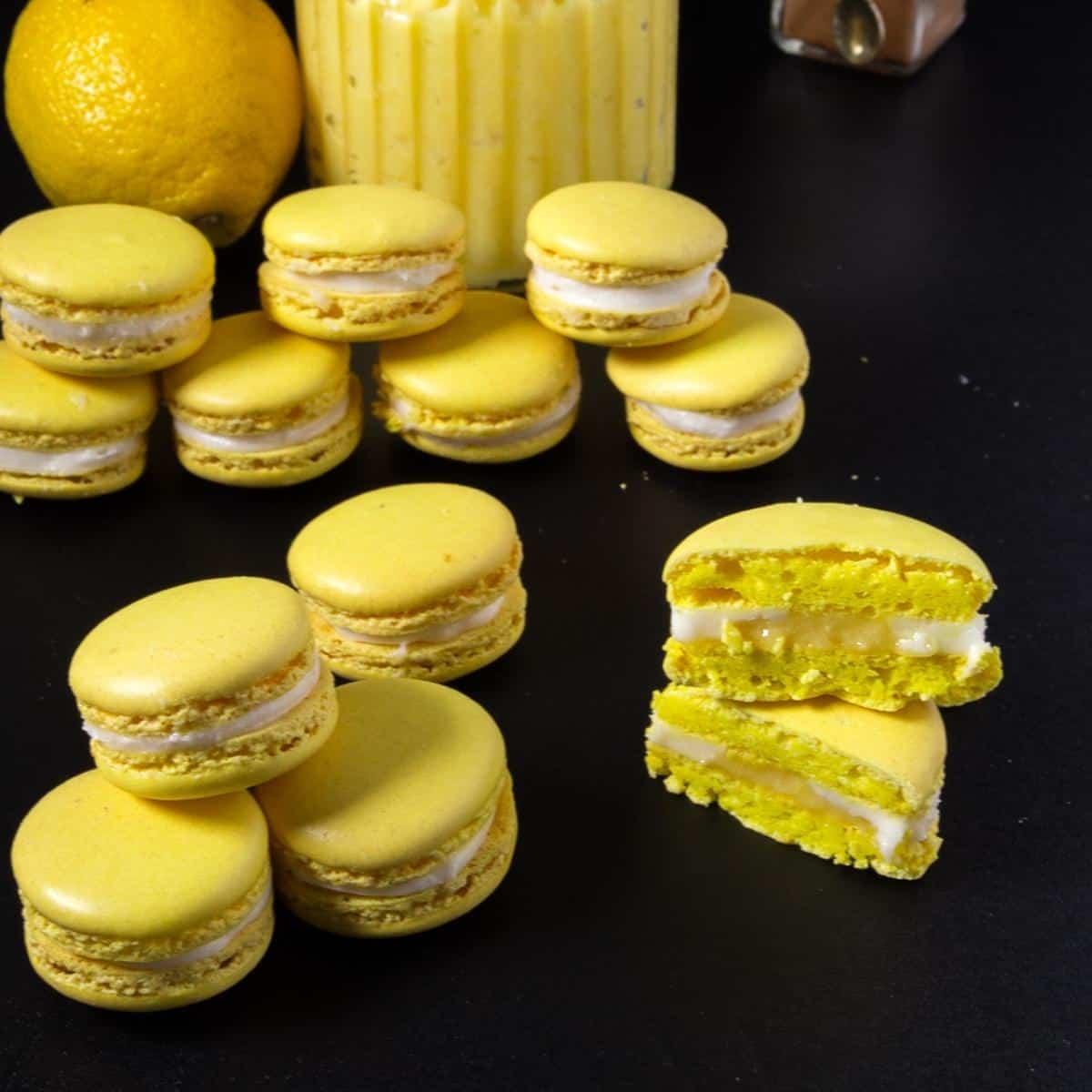 Cut macarons showing the inside lemon curd