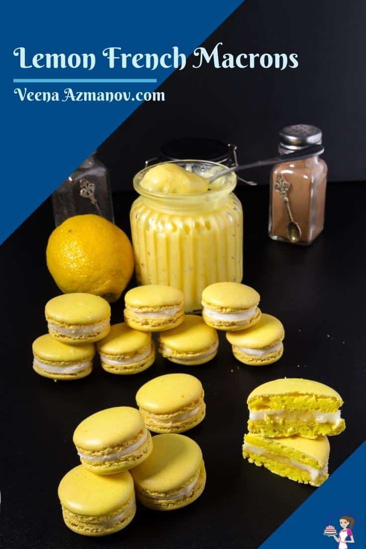 These lemon macarons filled with lemon curd and Swiss meringue buttercream are especially refreshing and light. This is of course using my foolproof macaron recipe as a base. Follow these tips below and people are going to think you are a macaron master baker!!#lemon #French  via @Veenaazmanov