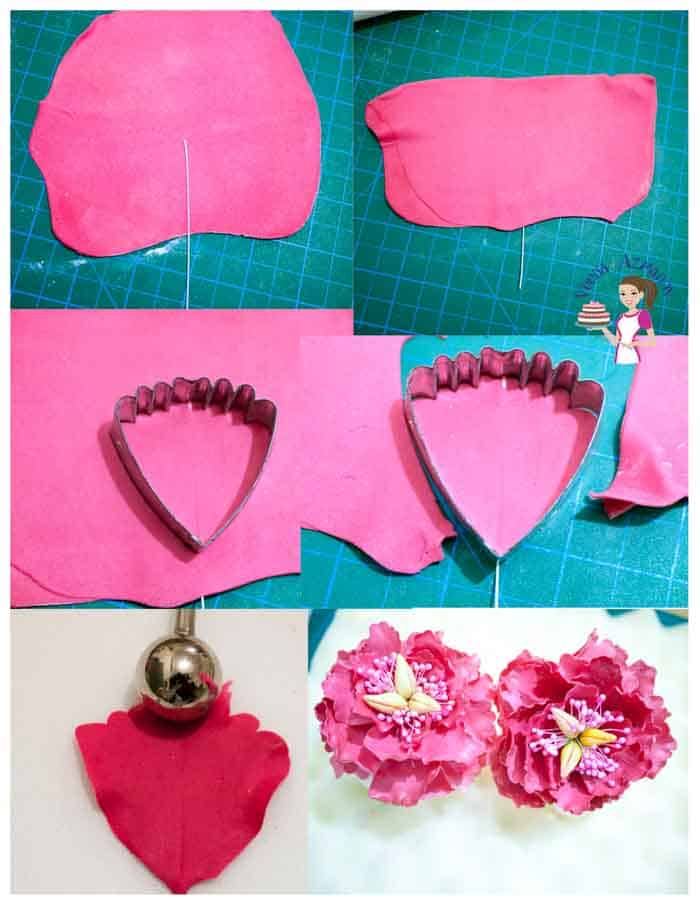 Progress photos of how to make sugar flowers.