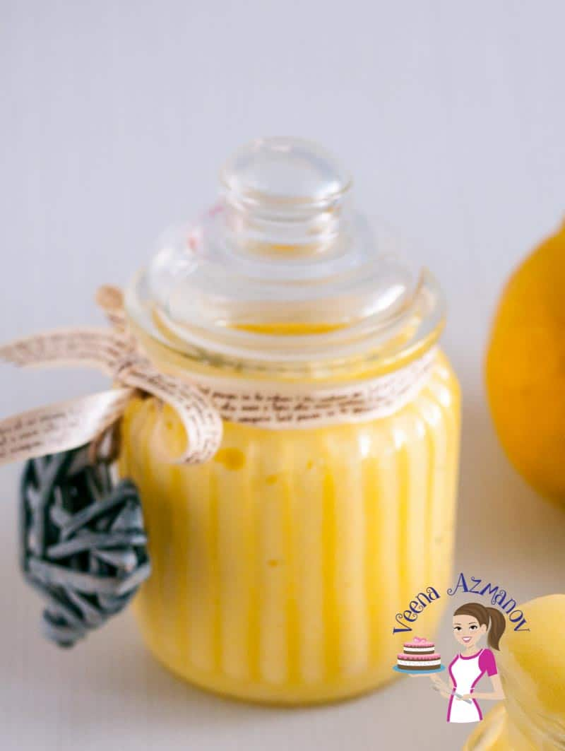 Lemon curd in a jar.