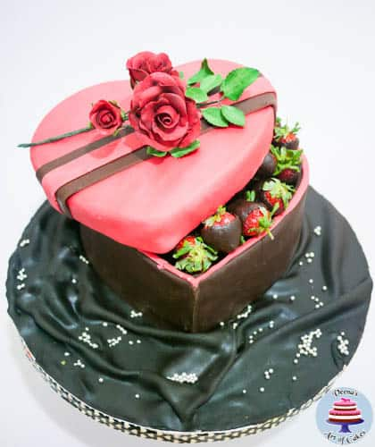 Valentine Strawberry Gift Box Cake