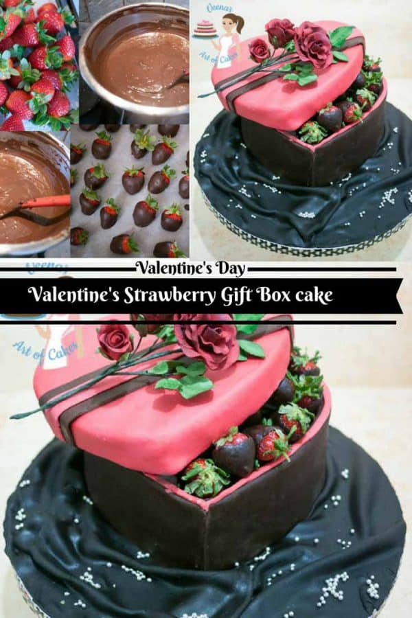 Who wouldn't love to receive this pretty Strawberry Gift Box Cake as a valentine treat with gorgeous chocolate coated strawberries and adorned with a pretty red rose spray.