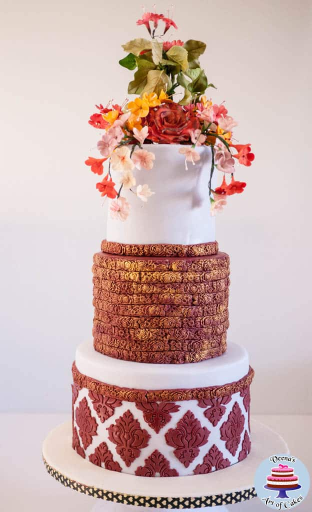Burgundy Damask Wedding Cake
