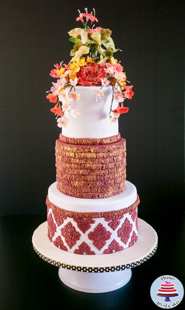 Burgundy Damask Wedding -3