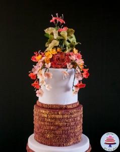 Burgundy Damask Wedding -4
