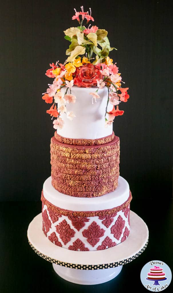 Burgundy Damask Wedding -5