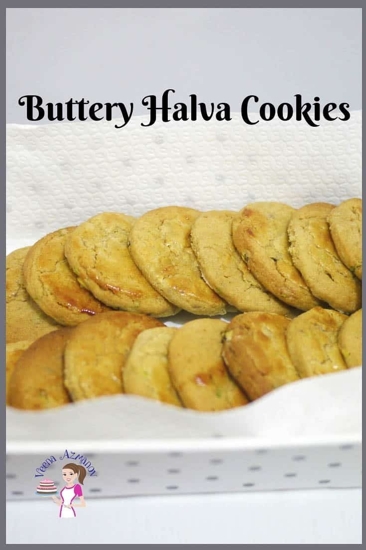 An image optimized for social media share for these homemade Buttery Halva Cookies also called Tahini Cookies.