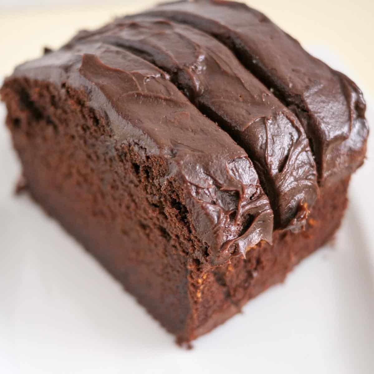 Slices of pound cake frosted with chocolate frosting