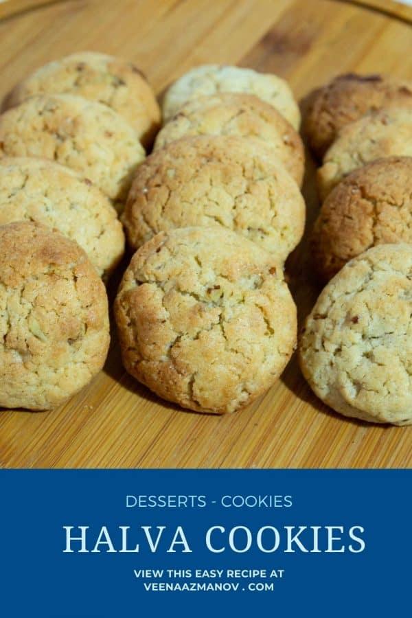 Pinterest image for cookies with halva.