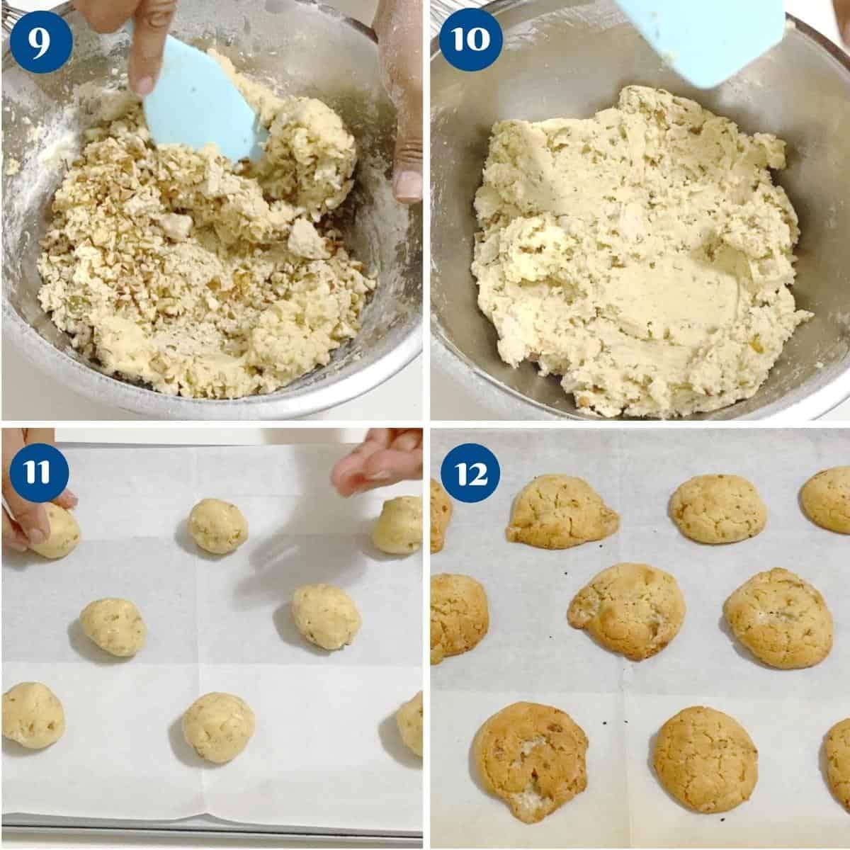 Progress pictures collage for cookies with halva.
