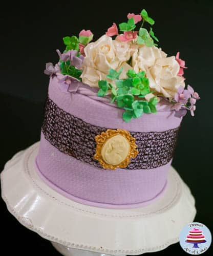 Lavender lace and Cameo Cake -1