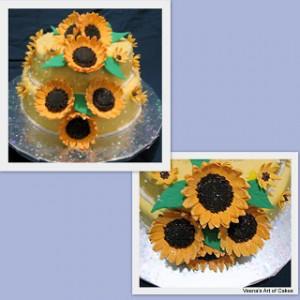 Wedding cake - Lemon yellow with Sunflowers-1