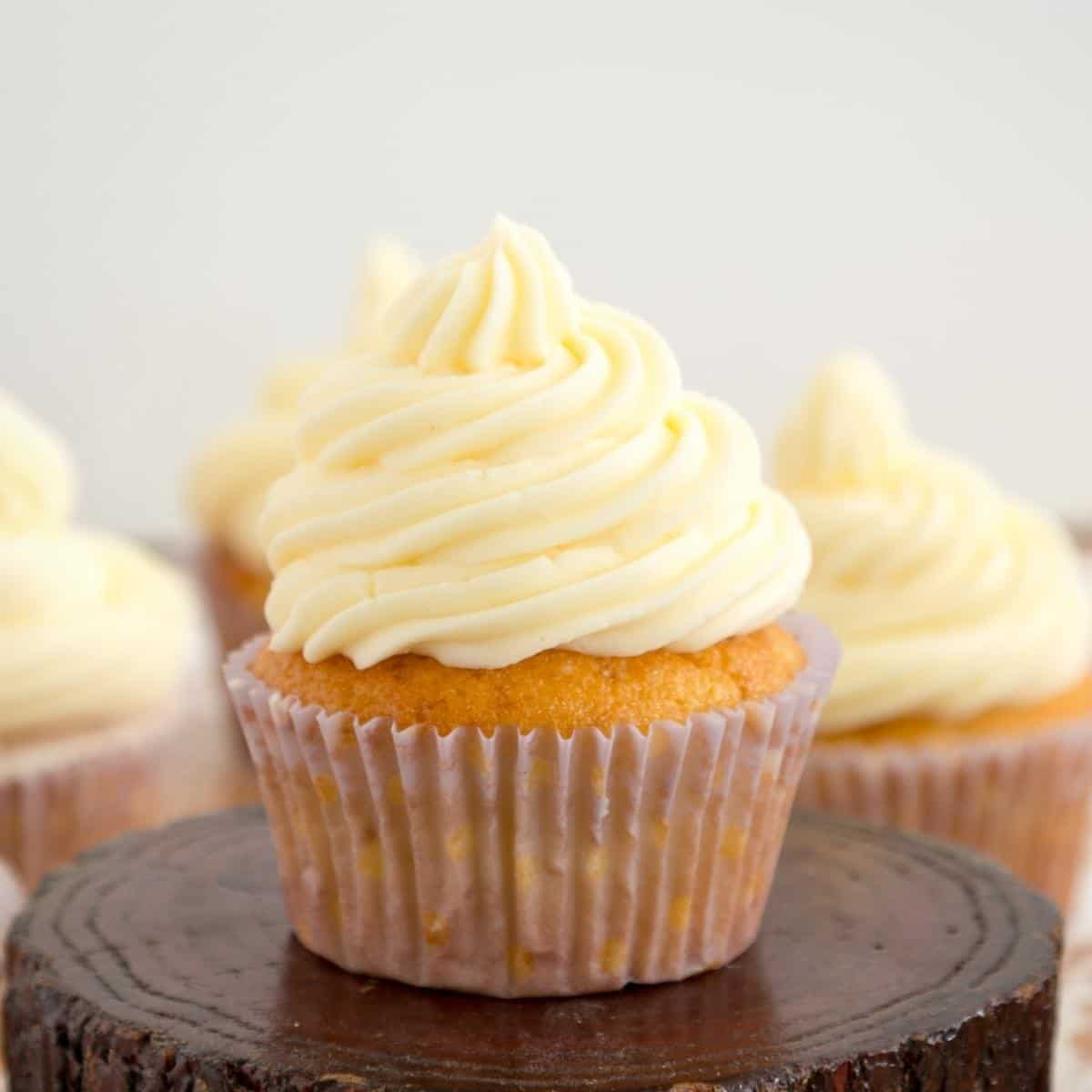 A cupcakes frosted with buttercream swirl.